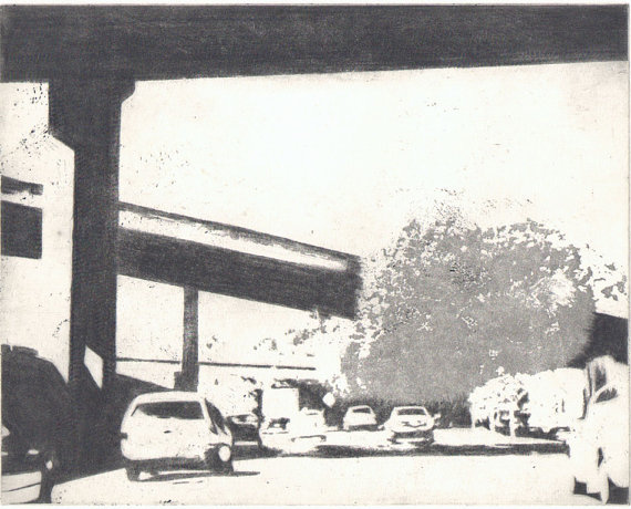 los angeles etching sketch art streets freeway ana portos