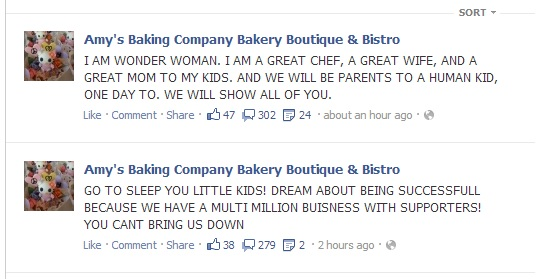 BOUZAGLOS amy BOUZAGLO bakery kitchin nightmares gordon ramsay facebook face book comments crazy