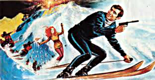 on her majesty's secret service james bond ski but cartoon drawing image
