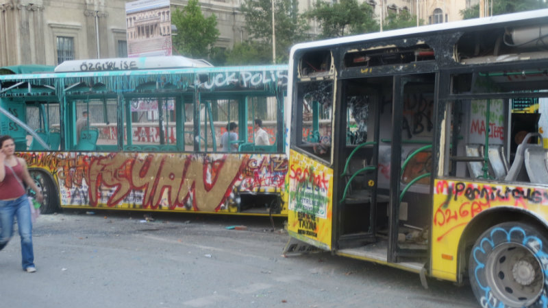 Protests taksim turkey istanbul destruction anarchy busses istambul muslim riot crowd