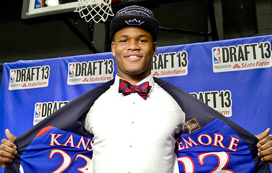Ben McLemore nba draft 2013 suit with jersey inside kansas bowtie