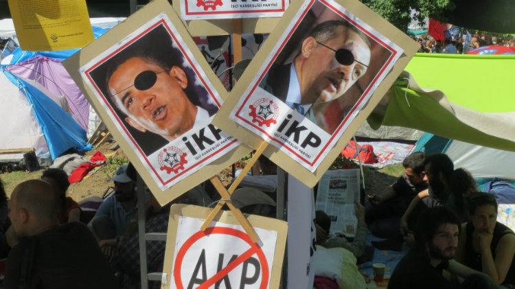 Protests taksim turkey istanbul  obama signs posters public