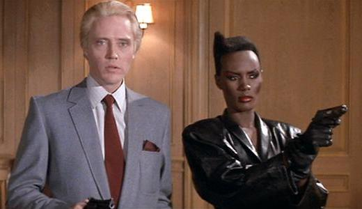 a view to a kill christopher walken blonde grace jones cap screencap still film silly parody review