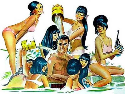 James bond you only live twice bath japanese girls art funny parody