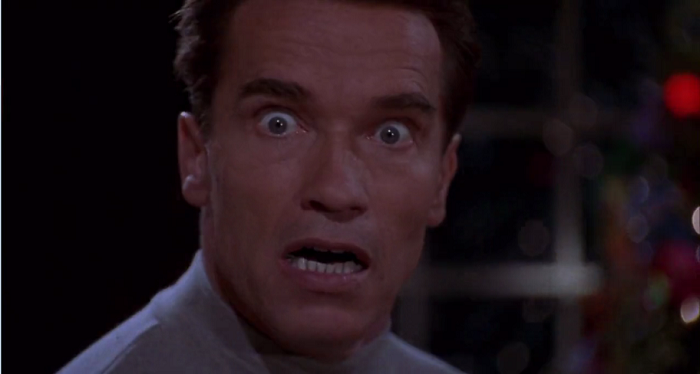 arnold jingle all the way face close up