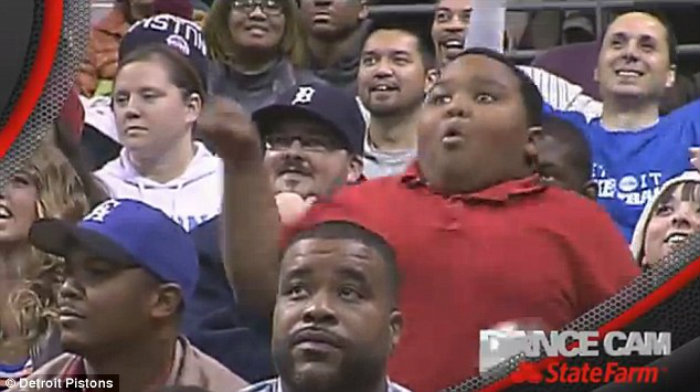 NBA kid child fan dance pistons funny silly
