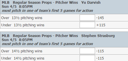 online baseball odds player hit home run win totals