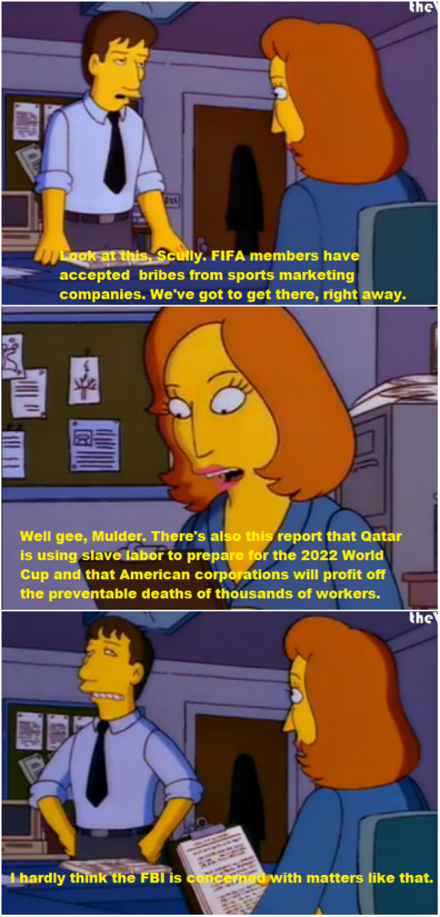 fbi FIFA world cup slavery scandal scullylly mulder simpsons parody
