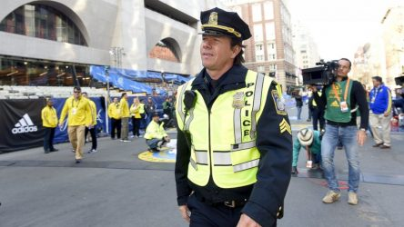 Mark Wahlberg on duty at Marathon